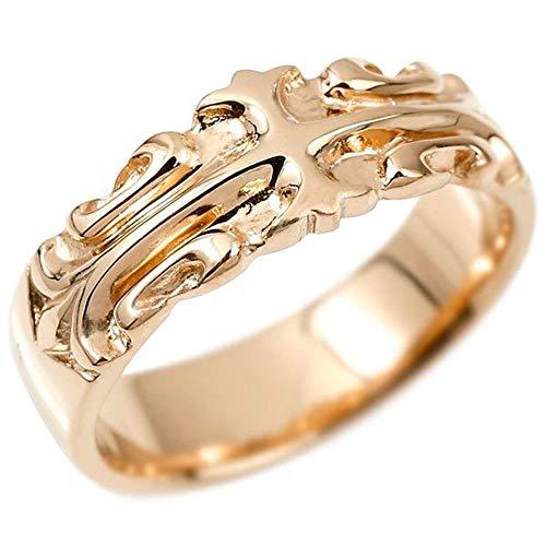 [アトラス] Atrus リング メンズ 10金 ピンクゴールドk10 クロス ユリの花 幅広 指輪 地金 ピンキーリング フルール・ド・リス 11号