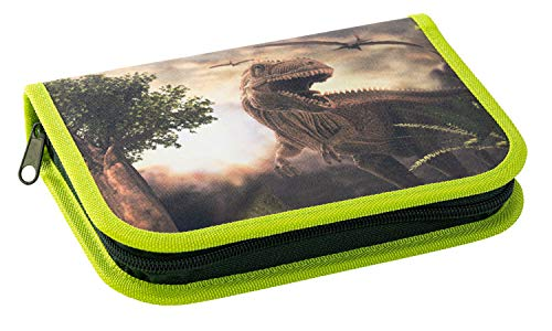 Eberhard Faber 577559 Pencil case with 2 Inner Flaps and Zip, 42 Pieces Filled, with Dinosaur Motif on Front and Back, Approx. 19.6 x 13.2 x 3.4 cm, for Preschool and School