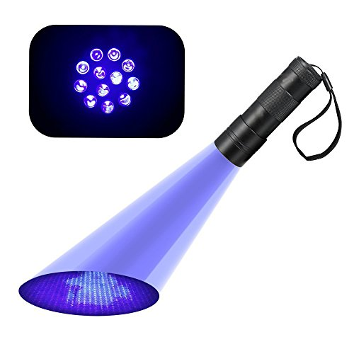KORADA UV 12 Led Ultraviolet Blacklight Stain & Urine Detector Torch, The Best UV Flashlight to Find Stains on Carpet, Rugs or Detect Pets Urine Catch Scorpion