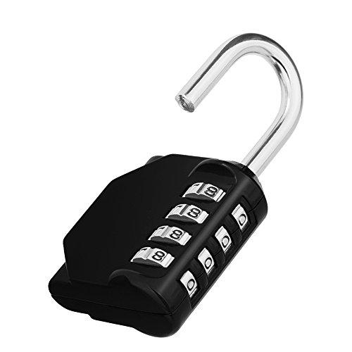 ZHEGE 4-stellig Vorhängeschloss Zahlen, Schloss Zahlencode für Fitnessstudio Spind, Wetterfest Vorhangeschloss für Tür, Gartenzäunen (1 Stück, Schwarz)