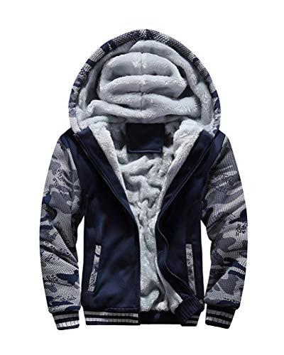 Yesgirl Herren Kapuzenpullover mit Reißverschluss Langarm Kapuzenjacke Winter Warm Fleece-Innenseite Sweatshirt Plus Dicke Fleecejacke Sweatjacke Mit Kapuze C Blau XXX-Large