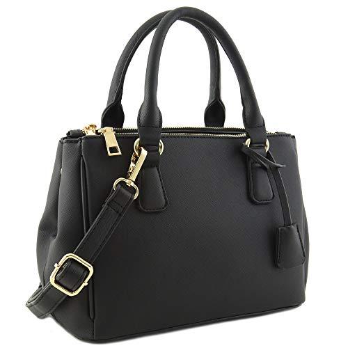 2pcs Set Classic Triple Zip Top Handle Small Satchel Bag with Zip Around Wallet (Black)