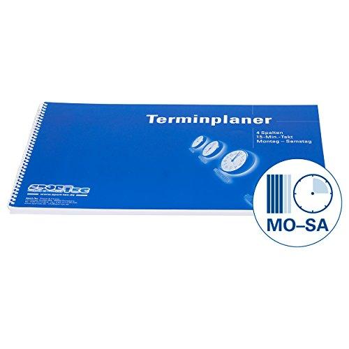 Terminplaner Organizer Terminbuch für Praxis & Therapie 4 Spalten 15 Min Mo.-Sa.