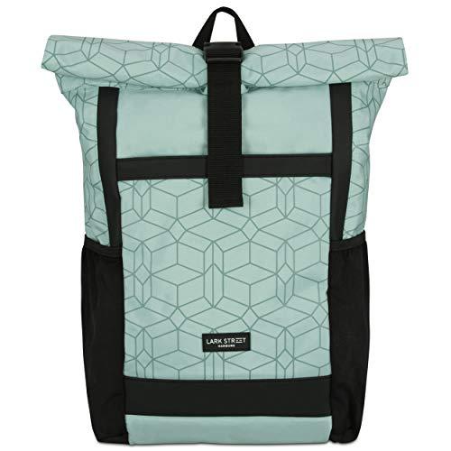 LARK STREET Rucksack Damen & Herren - No 2 - Rolltop Mint Gemustert – Recycelt & Wasserabweisend mit Laptopfach