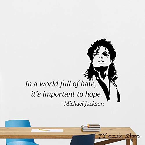 Michael Jackson (Michael Jackson) Zitat Vinyl Wandtattoo Musik Aufkleber Dekoration Wandbild abnehmbare Wandbild Abschreibung Wandbild Kunst nach Hause42x58cm
