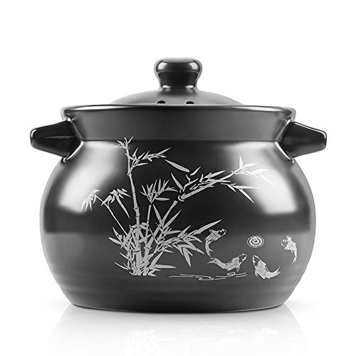 Clay Casserole Pot Terracotta Stew Pot Clay Pot For Cooking Congee Stewed Rice-黑色_5.2L