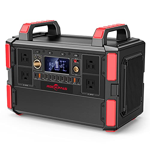 Rockpals Portable Power Station 1000W, 1048Wh/327600mAh Solar Generator with 4x110V Pure Sine Wave...