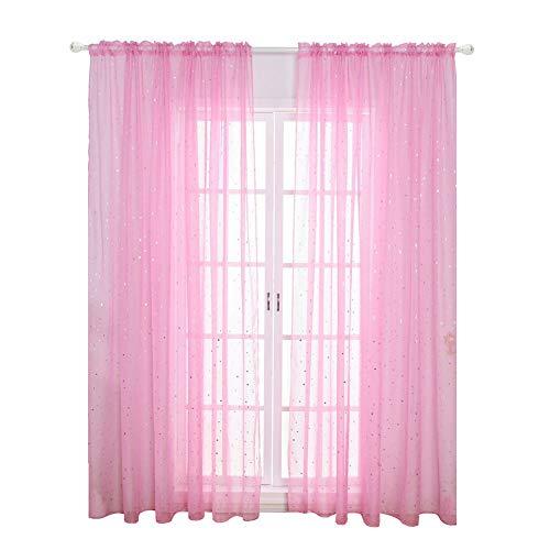 Estrella Tul Gasa Ventana Cortina Moderno Visillo de Voile para Dormitorio Infantil Living Om (100 X 200cmWhite) - Rosa, 100 x 270cm