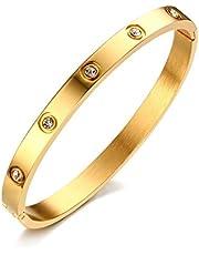VNOX Pulsera Ajustable del Brazalete del Pun ¢ o del Acero Inoxidable de Las Mujeres de 6mm,diámetro de 60 milímetros