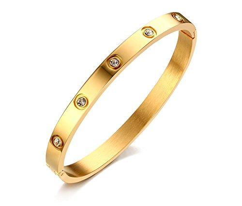 VNOX 6mm Frauen Edelstahl Kristall verstellbare Stulpe Armreif Armband Gold,60 mm Durchmesser