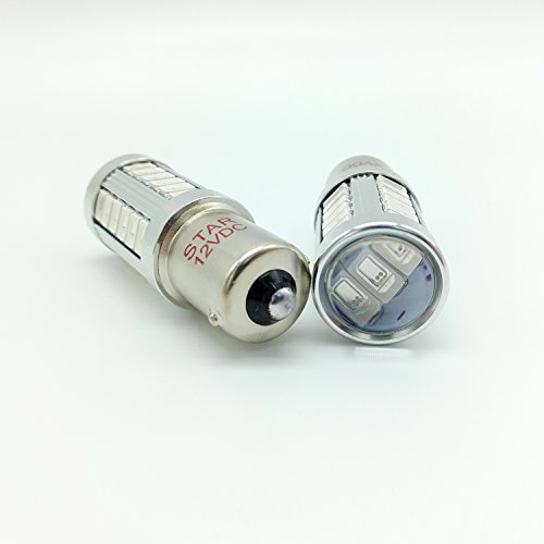 JAYUN Paquet de 2 1156 P21W BA15S 7506 1141 1093 Rouge Ampoules LED 33MD Lentille de Projecteur pour la Sauvegarde Inverse Queue Clignotant Lumière de Frein, Tension de Travail 12V