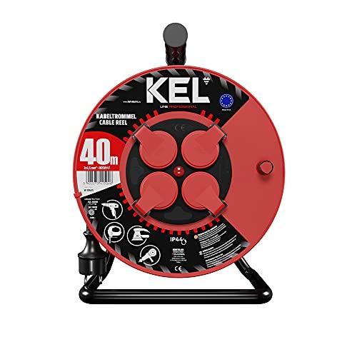 KEL -ELECTRIC - Tambor de cable con 40 m de cable de goma 3 x 1,5 mm², 230 V/16 A, cable alargador de plástico con 4 enchufes de protección IP44