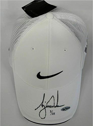 Best Prices! Tiger Woods Signed Autograph White Nike Victory Swoosh Logo Hat Cap /25 - Upper Deck Ce...