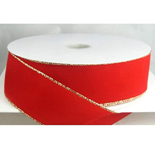 Wired Traditional Red with Gold Edges Velvet Christmas Ribbon 2 1/2' #40 - 50 Yards