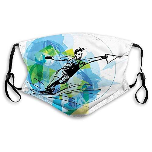 Sport,Mann Athlet Wasserski Energic Exotic Motivational Hobby Activity Image,Blau Schwarz Nasenschutz,Mundschal,Mouth Muffle,Staubdichter Schal