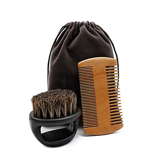 QJGhy Beard Brush Comb Set for Men's Care Gentleman's Mustache Travel Bag Best Grooming Kit to Spread Balm Or Oil for Growth & Styling Adds Shine & Softness