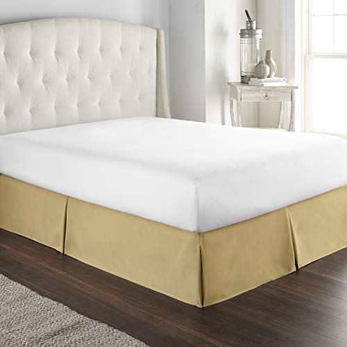 Hotel Luxury Bed Skirt Dust Ruffle 1800 Platinum Collection 14 inch Tailored Drop, Wrinkle & Fade Resistant (Queen, Camel)