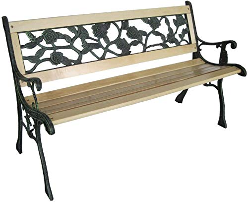 Cruise Tech 3 Seater Wooden Slat Garden Bench Seat Rose Style Cast Iron Legs