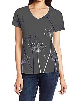 Women Printed Short-Sleeve V-Neck T-Shirt Simple Plant Design Herba Wattle
