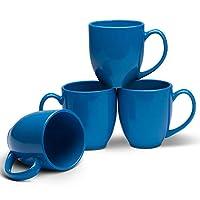 Serami 14オンス ビストロマグカップ コーヒーやお茶用 大きなハンドルとセラミック構造、4個セット。 ブルー