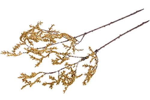 DPI künstlicher Deko-Zweig mit Glitter (2 Stück) (Gold)