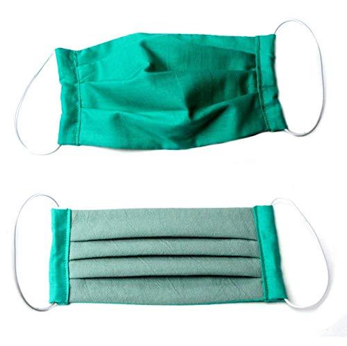 (Behelfs) Mundschutz Baumwolle, smaragd-altgrün, waschbar bei 60 °, Handmade in Germany