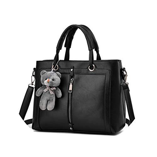 Luxury Women Leather Handbag BLACK Retro Vintage Bag Famous Brand Tote Shoulder Ladies Hand Bag Designer Handbags,black