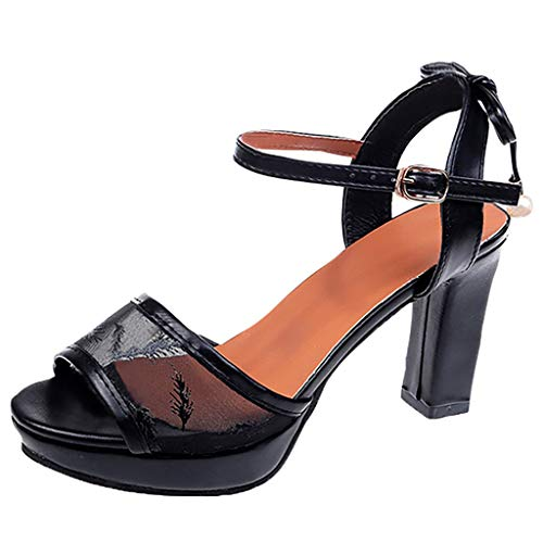 Best Price! Xinantime Womens Mesh High Heels Platform Buckle Square Heel Peep Toe Shoes Party Sandal...