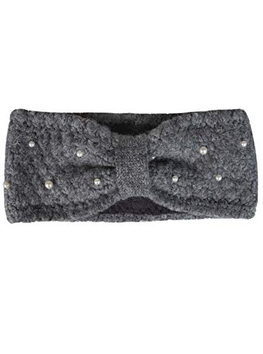 Zwillingsherz Stirnband mit Zopfmuster und Perlen - Hochwertiges Strick-Kopfband für Damen Frauen Mädchen - Mit Fleece - Wolle - Ohrenschutz - Haarband - warm - weich für Winter und Frühjahr gra
