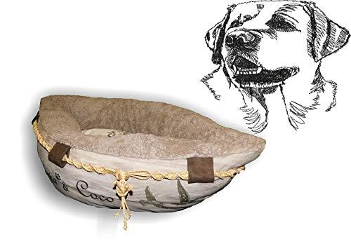 LunaChild Hundebett Hund Boot Böötchen Labrador Retriever 2 Hundeboot Sofa Lounge Hundelounge mit Name Wunschname Snuggle Bag Größe XS S M L viele Farben Hundekorb