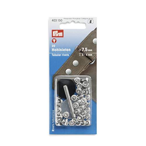 Prym 403150 Hohlnieten silberfarbig, 3-4 mm, 20 Stück