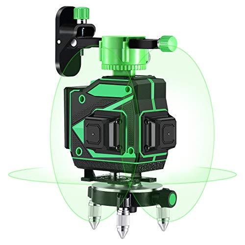 Kreuzlinienlaser 360, Kraumi 3 x 360 Grad Laser Grün Laserpegel Selbstausgleichende, 3D 12 Linien rotationslaser selbstnivellierend 25m mit Halterung und Fernbedienung, Inklusive 2pcs Batterie