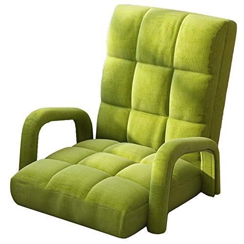 Creator-Z Silla de Suelo Plegable Meditación con reposabrazos 6 Ángulo Respaldo Ajustable Acolchado Piso para Gaming Balcón Dormitorio,Verde