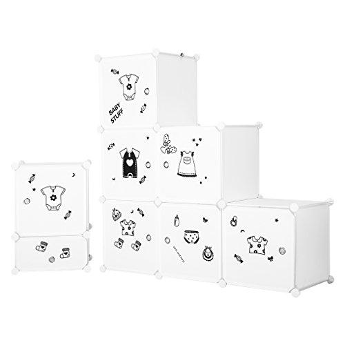 LANGRIA Set Armoire Penderie Modulable 6 Cubes et Table de Chevet avec 2 Cubes, 1 Tige de Vêtements, Autocollants Icones Habilles Bébé pour Décor, Meuble Rangement Chambre Enfants, Bébés (Blanc)