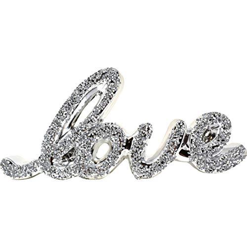 Adorno de plata de amor brillante brillante brillante de regalo | Cristalizada feliz familia amor decorativo letras bloques de palabras para decoración de la habitación del hogar