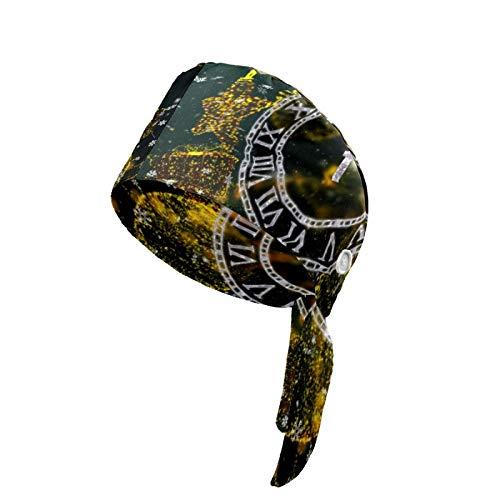 Cappellino da lavoro da donna con bottone e fascia antisudore Cappelli stampati copritesta regolabile cravatta posteriore cappello copricapo per uomo Natale vacanze orologio conto alla rovescia