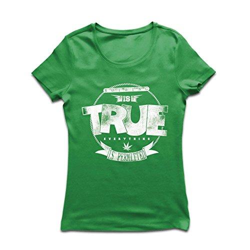 lepni.me Camiseta Mujer Nada es Cierto, Todo está Permitido - Hipster Swag, Moda callejera, fumando Marihuana (Large Verde Multicolor)