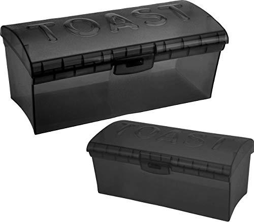 Toastbox Brotdose SCHWARZ transparent Toastbrotbox Toast Brotkasten Brotdose Brotbehälter kleine und große Sandwichbox Brotbox