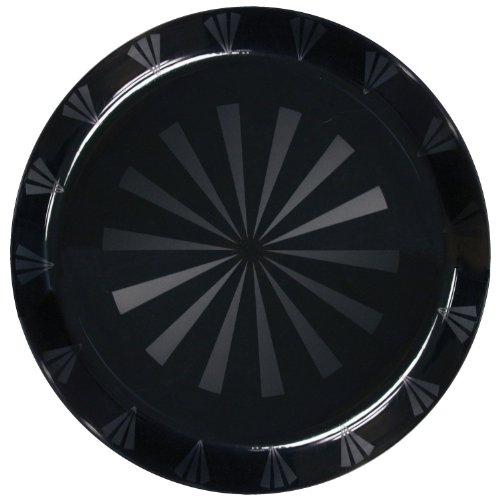 "Party Essentials N161217 Plastic Round Tray, 16"" Diameter, Black (Case of 12)"