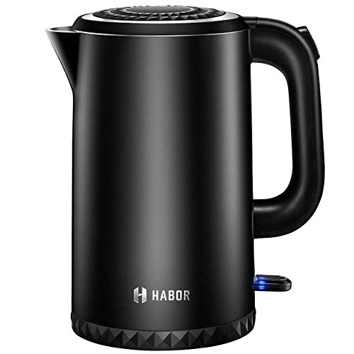 Cordless Electric Kettle, 1.7L Double Wall 304 Stainless Steel Hot Water Boiler, 1500W Fast Boiling...
