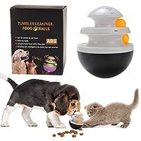 TVMALL 軌道ボール犬用のおもちゃインタラクティブ食品ディスペンサーフィーダー大型小型猫用のおもちゃボール軌道ボールインタラクティブおもちゃ 猫ターンテーブル パズルトレーニングゲームフィーダーは、子犬猫ペットのIQを改善します