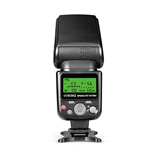VOKING VK750III Remote TTL Camera Flash Speedlite with LCD Display for Nikon D3400 D3300 D3200 D5600 D850 D750 D7200 D5300 D5500 D500 D7100 D3100 and Other DSLR Cameras