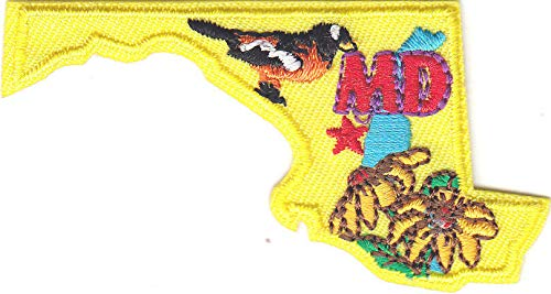 MARYLAND STATE SHAPE Iron On Patch
