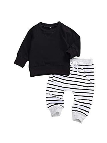 Carolilly - Juego de 2 piezas de ropa para bebé, otoño, invierno, para niños, de 0 a 24 meses Negro 0-6 meses
