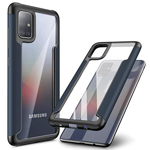 INFILAND Galaxy A71 Case, Compatible with Samsung Galaxy A71 Phone 2020 Release ONLY, Edge Protective Case with Transparent Back, Navy