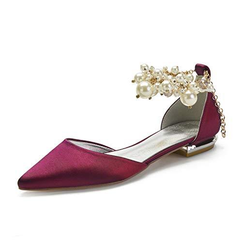 SDJQZ Zapatos de boda de las mujeres tacón plano punta punta clásica dulce boda fiesta noche imitación perla color sólido satinado, Vino tinto, 40 EU