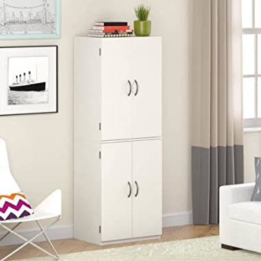 Mainstays Tall Storage Cabinet, 4 Door (White Stipple) (White Stipple)