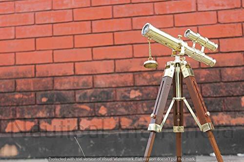 india.nautical.handicraft Telescopio náutico Antiguo de Doble Barril latón 10 Pulgadas con trípode de Madera