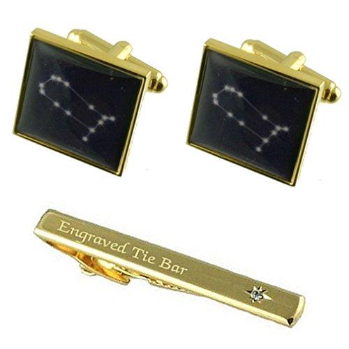 Anniversaire Gemini Zodiac Sign Star Gold Cufflinks gravée Coffret Cravate