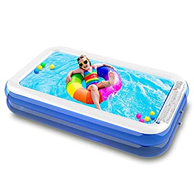 "SURFMASS Family Inflatable Swimming Pool Oversize 1-7 Peoples 120"" x 72"" x 19.6"" Lounge Pool for Kids Adults Swim Center for Outdoor Garden Backyard"